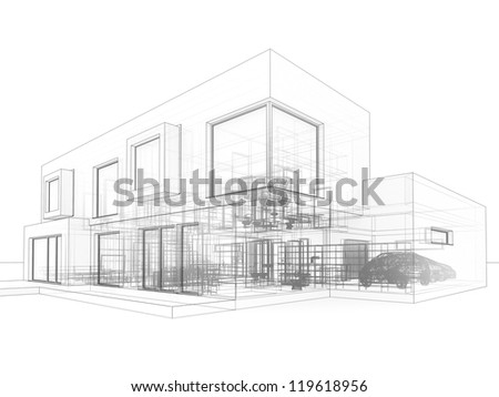 computer generated visualization in drawing style of contemporary box house  - architects and designers project work