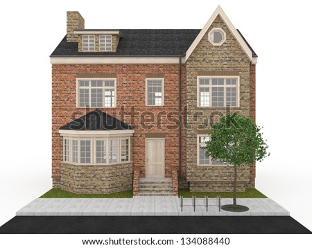 computer generated visualization of victorian terraced house, common architecture for United Kingdom.