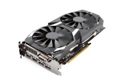 Computer graphic card with two fans. Video card with two coolers from the computer. GPU card. IT hardware. Crypto currency mining rig with graphics cards. Mining ethereum, bitcoin and altcoins.