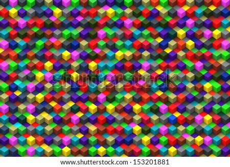 Computer graphic design abstract background of 3D multicolor cubes boxes