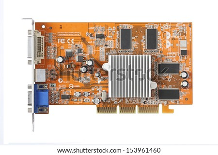 Computer graphics card (Video card) isolated on white background