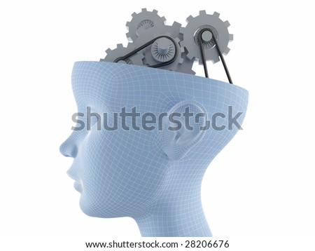 Computer graphics generated - female face profile with gear brain activities