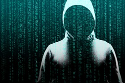 Computer hacker in mask and hoodie over abstract binary background. Obscured dark face. Data thief, internet fraud, darknet and cyber security.