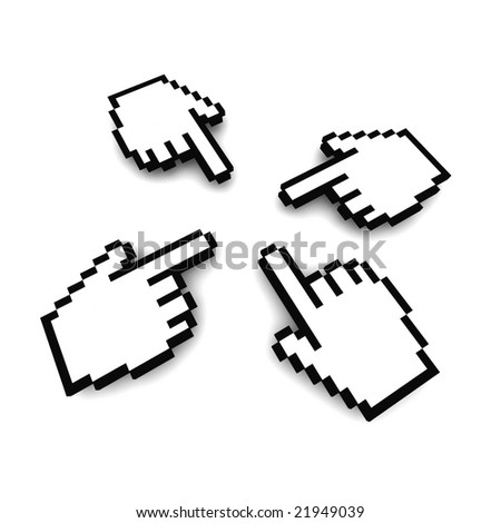 Computer hand cursors 3d rendered image