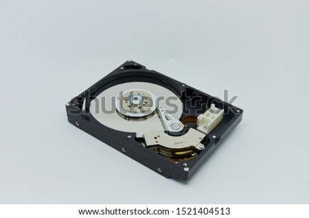 Computer hard drive. Components for PC. Open hard disk storage. Recovery and storage of information. Magnetic disks inside HDD. Modern digital technology. #1521404513