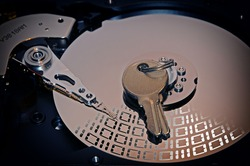 Computer Hard Drive Disc and a Security Key with effects