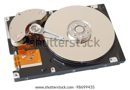 Computer hard drive isolated with clipping path on white background