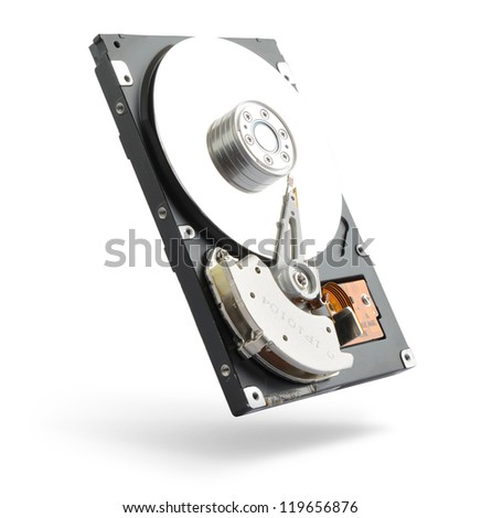 Computer hard drive on white background. File contains a path to isolation.