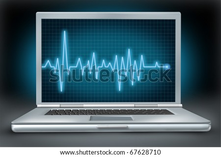 computer health laptop repair software hardware ecg ekg - stock photo