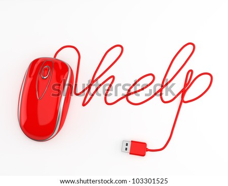 Computer help, red mouse with cable spelling help with a white background