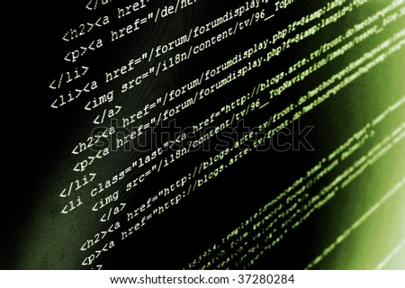 computer html code showing concept of internet and software programming - stock photo