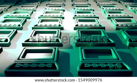 Computer icons. Green colors. Symbolism for multimedia and information technologies. Signs and Symbols. Reflective surface. Hardware. Electronic device. 3D rendering.
