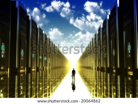 Computer illustration of a businessman walking down the isle of computerized era with computer tower on his right and left.