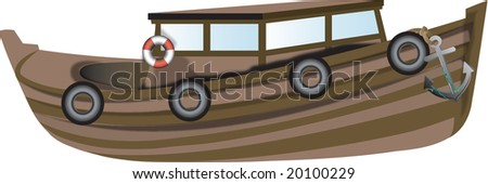 Computer illustration of an old wooden boat