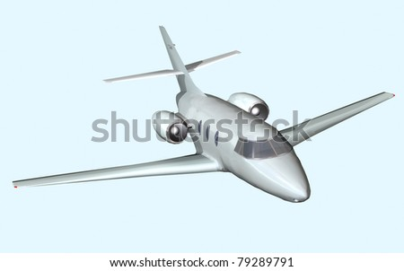 Computer image, plane private Jet 3D, isolated blue background - stock photo