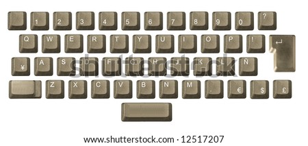 computer key in a keyboard with letter, number and symbols