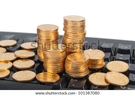 Computer keyboard and coin