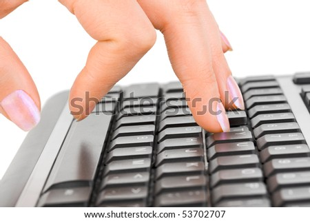 Computer keyboard and hand isolated on white background - stock photo