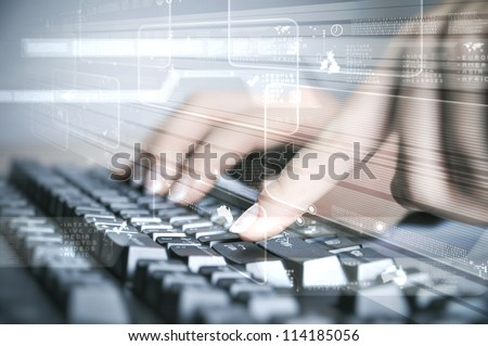 Computer keyboard and multiple social media images