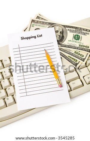 computer keyboard and shopping list, online shopping