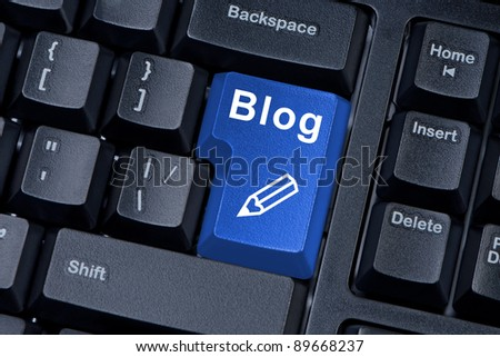 Computer keyboard button with word blog with icon pencil.