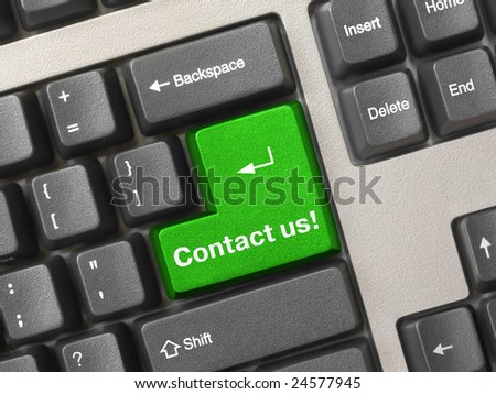 Computer keyboard - green key Contact us, business background