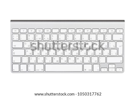 Computer keyboard. Isolated on white background. Cyrillic and US keyboard. Russian and English letters on the button. #1050317762