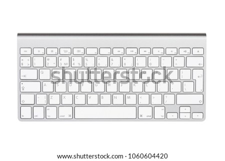 Computer keyboard. Isolated on white background. US keyboard. English letters on the button. #1060604420