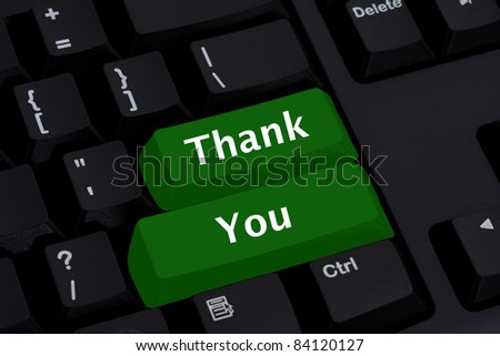 Computer keyboard key displaying word thank you, Thank you for your business