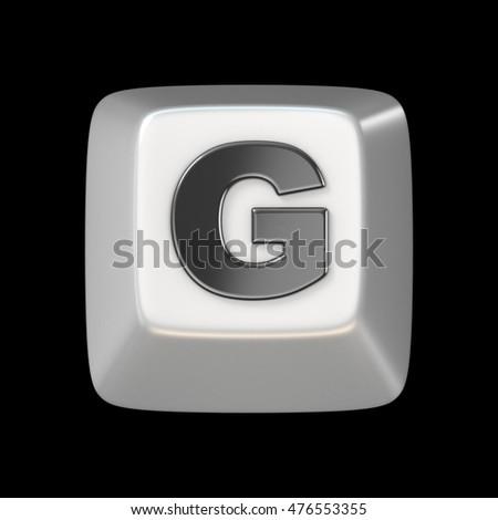 Computer keyboard key FONT. Letter G 3D render illustration isolated on black background Photo stock ©
