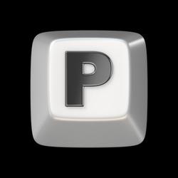 Computer keyboard key FONT. Letter P 3D render illustration isolated on black background