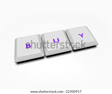 Computer keyboard keys spell out the word Buy