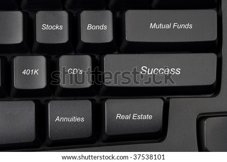 Computer keyboard keys with investment options provide guidance to success.