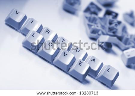 "Computer keyboard letters ""virtual love"""