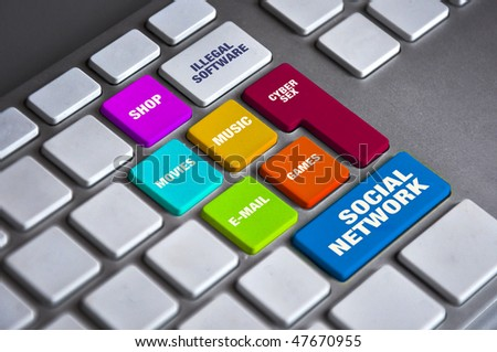 Computer keyboard various keys. Internet keyboard concept.