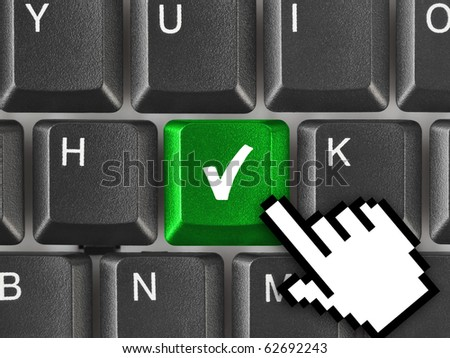Computer keyboard with agreement key - technology background