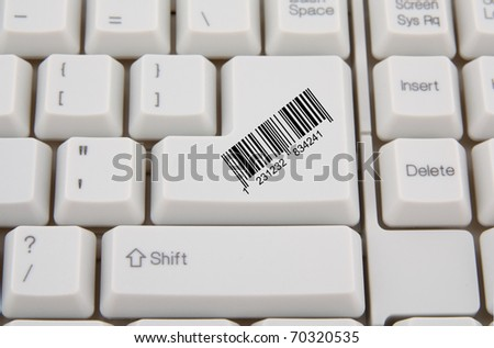 computer keyboard with bar code