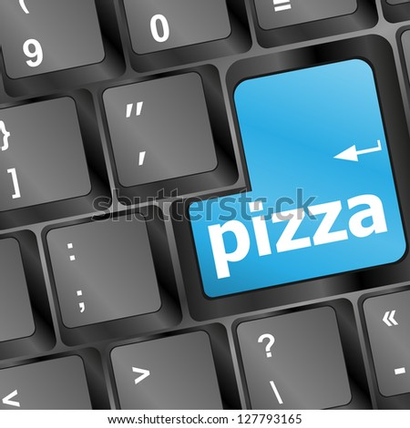 Computer keyboard with blue pizza word on enter key, raster