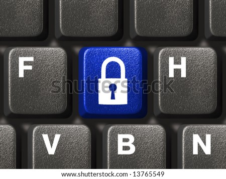 Computer keyboard with blue security key closeup