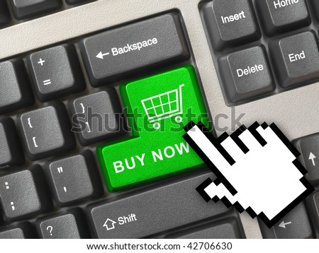 Computer keyboard with blue shopping key - internet concept