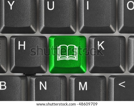 Computer keyboard with Book key - education background