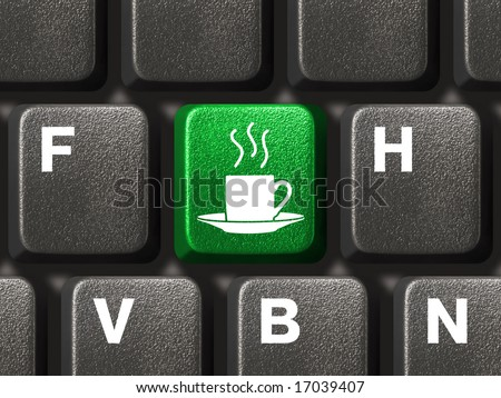 Computer keyboard with coffee key, business concept