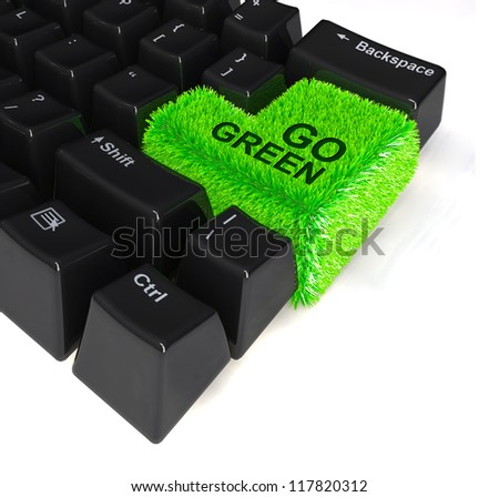 "computer keyboard with enter button in green grass and the word ""go green"" written above, 3d illustration"