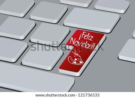 "Computer keyboard with ""Feliz Navidad"" button"
