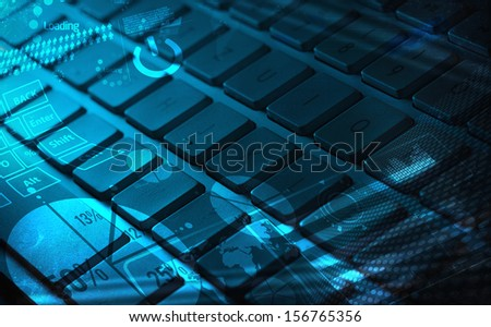 Computer keyboard with glowing charts, digital marketing concept