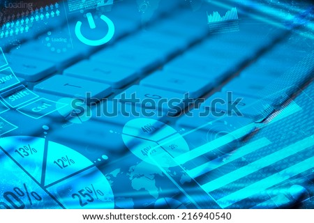 Computer keyboard with glowing charts digital marketing concept