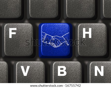 Computer keyboard with handshake button, business concept