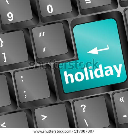 Computer keyboard with holiday key - social concept, raster