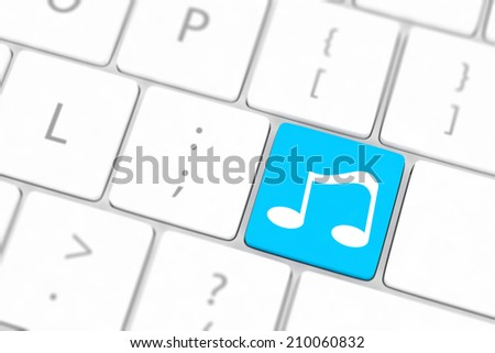 computer keyboard with icon music #210060832