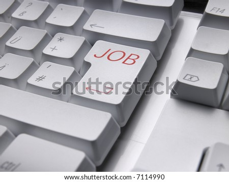 Computer keyboard with JOB enter key.